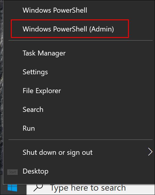 """انقر فوق """"Windows PowerShell (المسؤول)."""""""