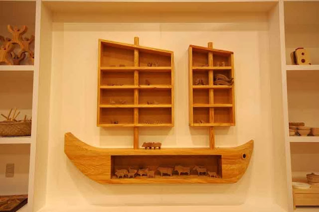 wood shelves and toys