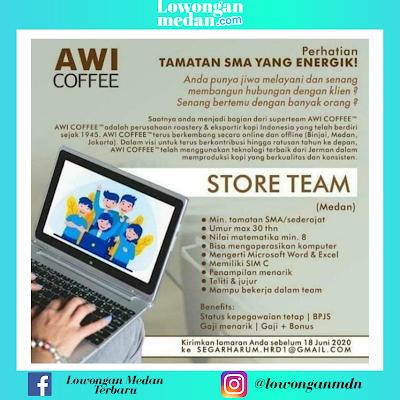 Lowongan Kerja Medan Terbaru Juni 2020 di AWI Coffee Sebagai Store Team
