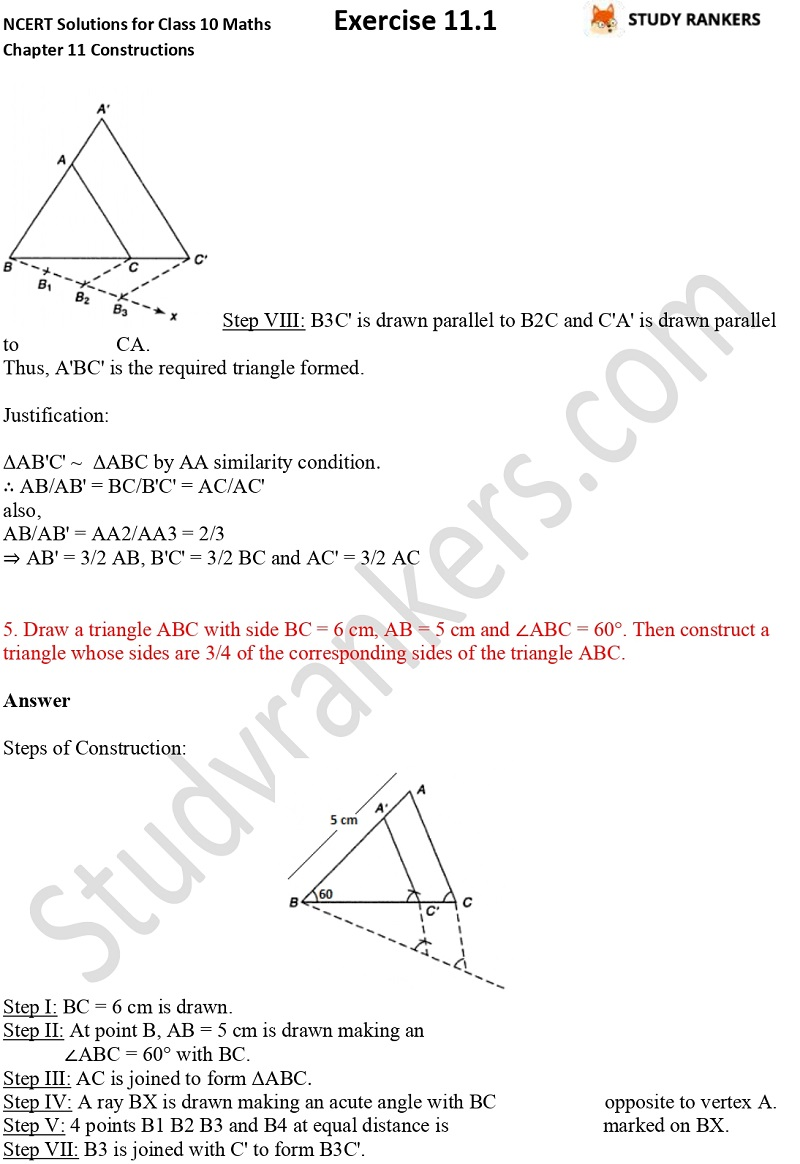 NCERT Solutions for Class 10 Maths Chapter 11 Constructions Exercise 11.1 Part 4