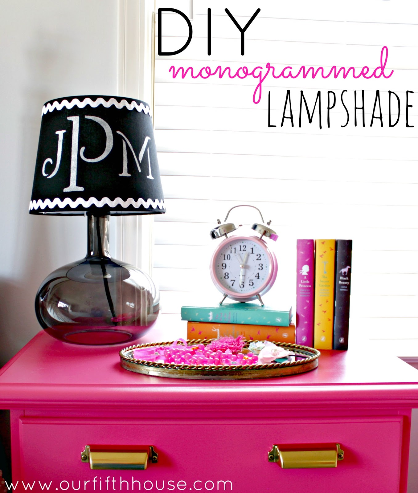 Diy monogrammed lamp shade our fifth house diy monogrammed lamp shade mozeypictures Images