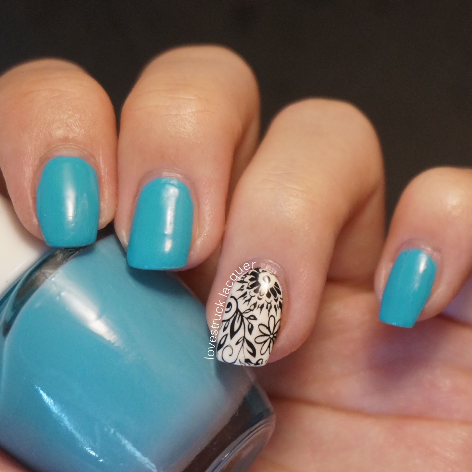 Lovestruck Lacquer: Turquoise with Black and White Floral Accent Nail