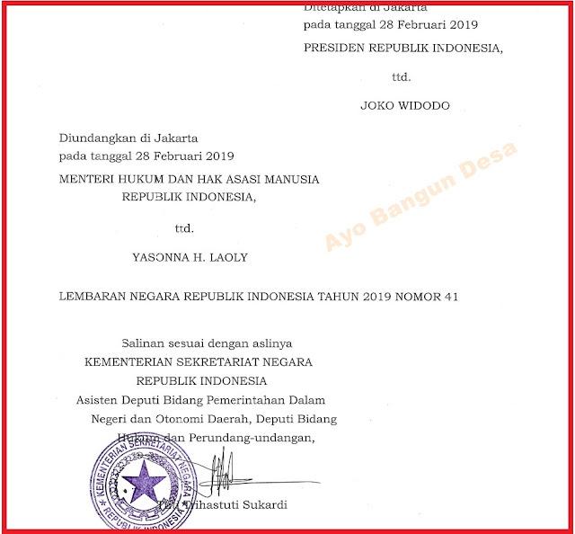 Peraturan Pemerintah Nomor 11 Tahun 2019 tentang Perubahan Kedua Atas Peraturan Pemerintah Nomor 43 Tahun 2014 tentang Peraturan Pelaksanaan Undang-Undang Nomor 6 Tahun 2014 tentan Desa