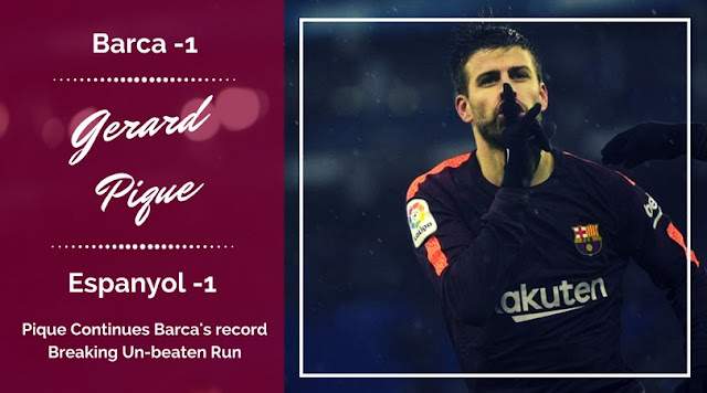 Gerard Pique scored the equalizer which helped FC Barcelona to maintain their unbeaten start to the league
