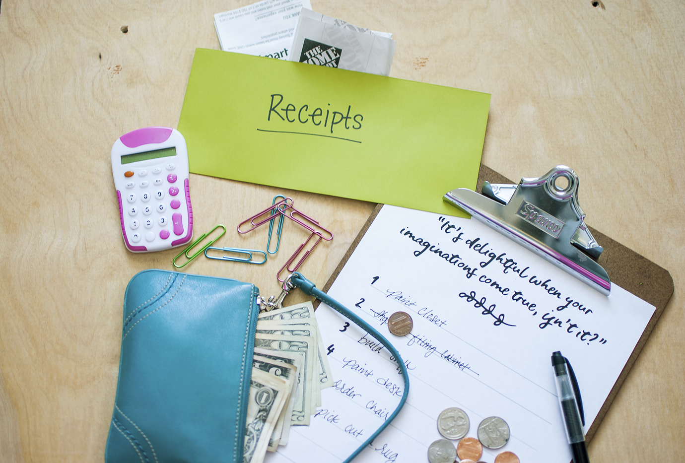 Aqua Blue Wallet with Paper Money and Coins Clipboard with Project Checklist and Receipts Envelope | Budget Saving Tips For Home Remodel Projects