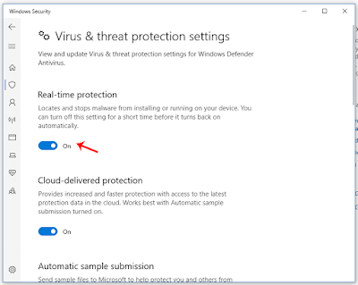 Atur ke Off untuk Mematikan Antivirus Windows Defender