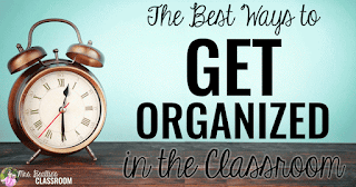 "Alarm clock on table that says, ""The Best Ways To Get Organized In The Classroom."""