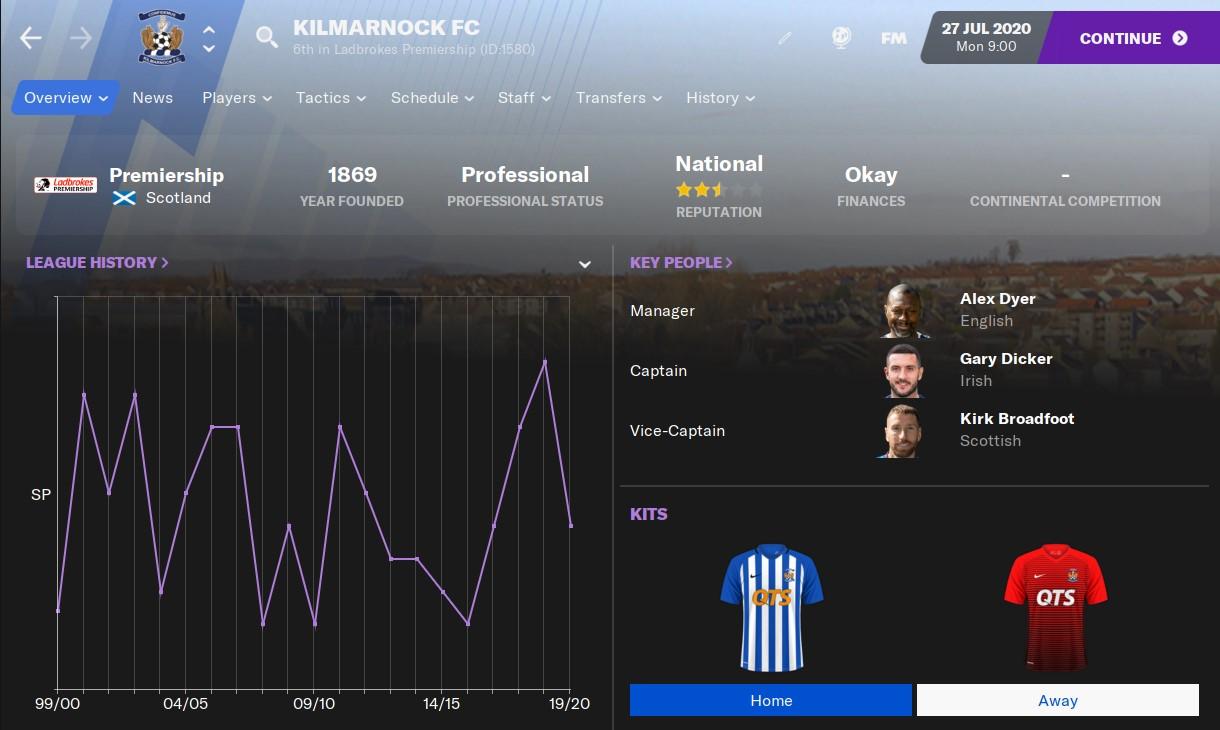 Kilmarnock in Football Manager 2021