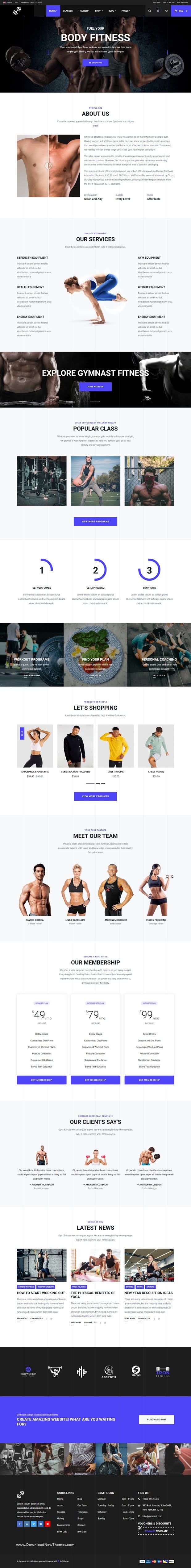 GYM, Fitness, Bodybuilding, Yoga and Nutrition Bootstrap Template