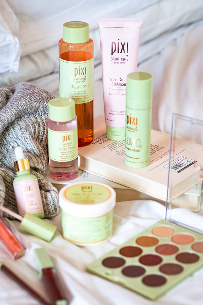 Picture of collection of Pixi Beauty Products in green packaging