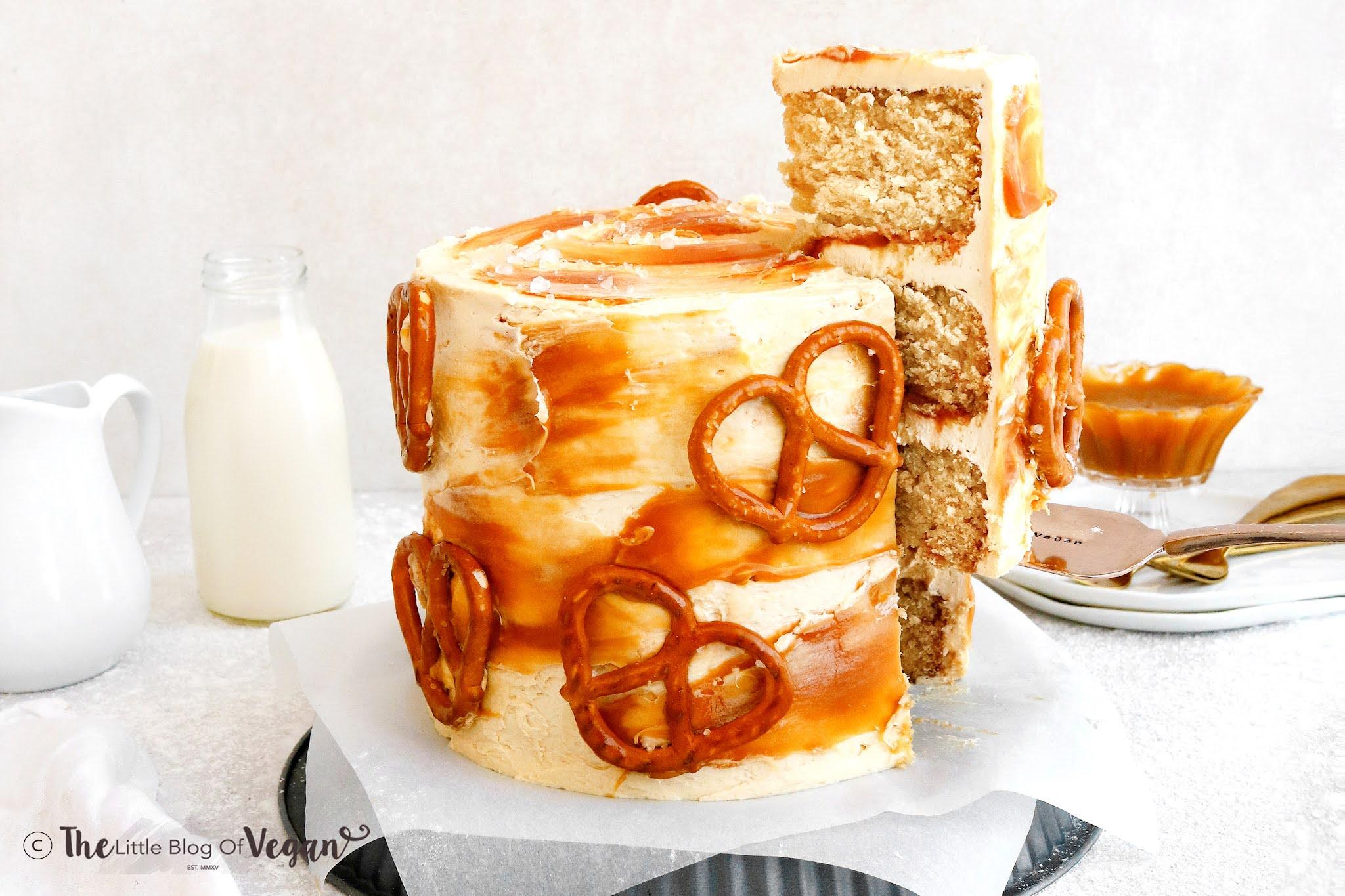 Vegan Salted Caramel Pretzel Cake