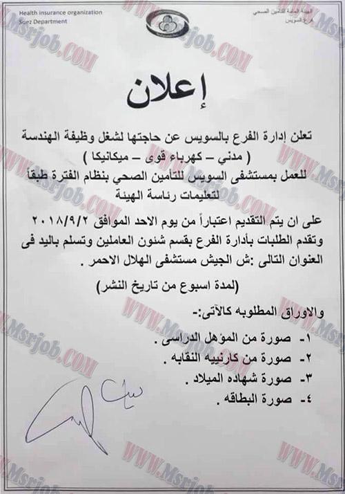 اعلان وظائف التامين الصحي يطلب موظفين جدد والتقديم لمدة اسبوع 1 / 9 / 2018