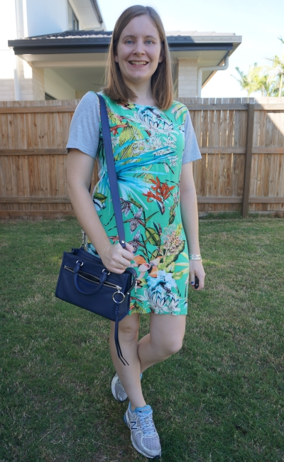 atmos & here floral print tee dress with navy Rebecca Minkoff micro bedford crossbody bag sneakers | away from blue