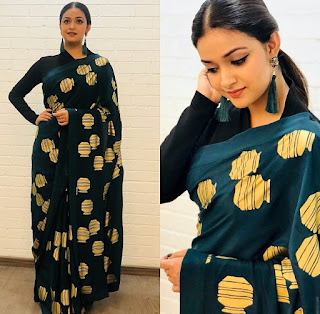 Keerthy Suresh in Saree with Cute and Awesome Lovely Expressions for Galattadotcom Awards