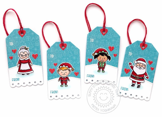 Sunny Studio: Santa, Mrs. Claus & Elf Christmas Gift Tags (using North Pole Stamps, Build-a-Tag 2 Dies, Slimline Nature Border dies & Holiday Cheer Paper)