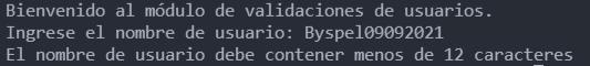 Módulo de validación nombre de usuario
