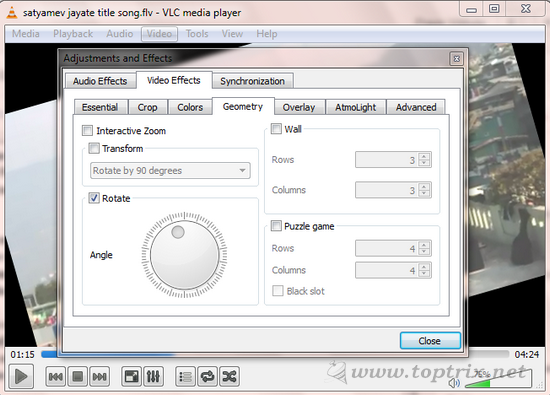 Rotate Orientation Of Video on VLC