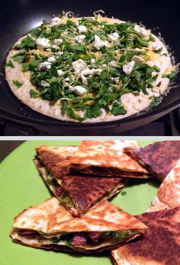 Spinach Quesadilla w/ Sausage, Cheddar and Blue Cheese. Best when using Low Carb Tortillas.