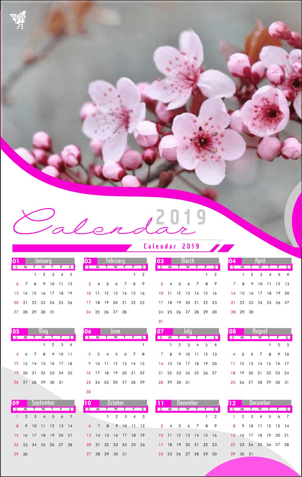 004 Calendar 2019 Printable Template Design Ai Vector Cdr Sakura