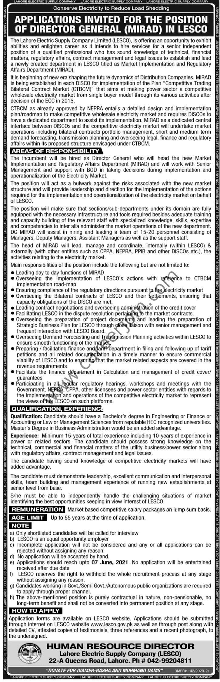 Latest Jobs in Lahore Electric Supply Company Lecso 2021