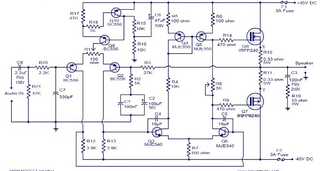 100w Mosfet Power Amplifier Circuit Image