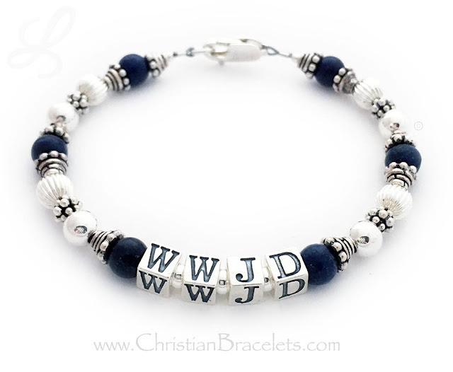 Lapis Lazuli What Would Jesus Do Bracelet - Shown with a lobster claw clasp, 5.5mm block letters. Size: 7 1/2""