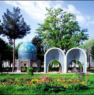 The tomb of this famous poet is located in Neyshabour, near the tomb of Omar Khayyam. This structure is octagonal in shape with a tile worked onion shaped dome.  Every year on April 14th, ceremonials in commemoration of Attar Neishabouri take place all around Iran.