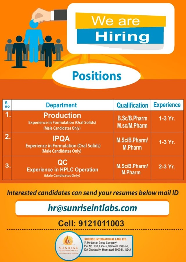 SunRise Labs | Openings in Production/QC/IPQA at Hyderabad | Send CV