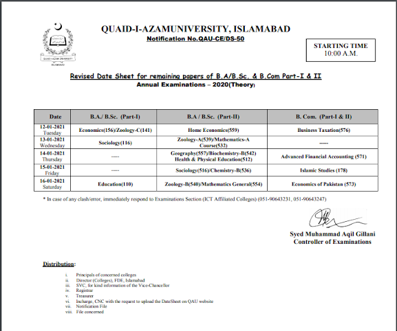 Quaid i Azam University BA BSc Date Sheet Revised 2020