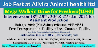 Alivira Animal Health Ltd  Mega Walk-in Drive for Freshers 10+2th Pass Out Interviews on 18th , 19th, 20th & 21st Jan'2021