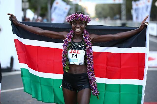 Margaret Wanguri Muriuki winner womens race Honolulu Marathon