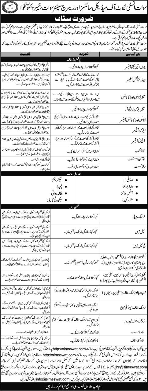 Swat Institute of Medical Sciences and Research Centre Jobs 2021 KPK