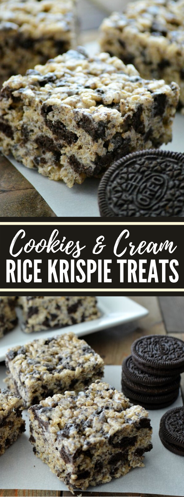 Cookies & Cream Rice Krispie Treats #desserts #oreo
