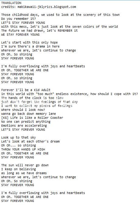 B2ST - Stay Forever Young lyrics + translation