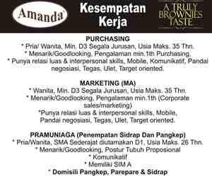 Lowongan Kerja di CV Amanda Brownies Makassar