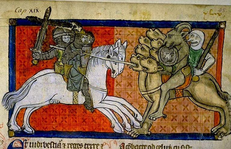 Os fiéis combatem contra os seguidores do anticristo. 1220-70. Biblioteca de Toulouse