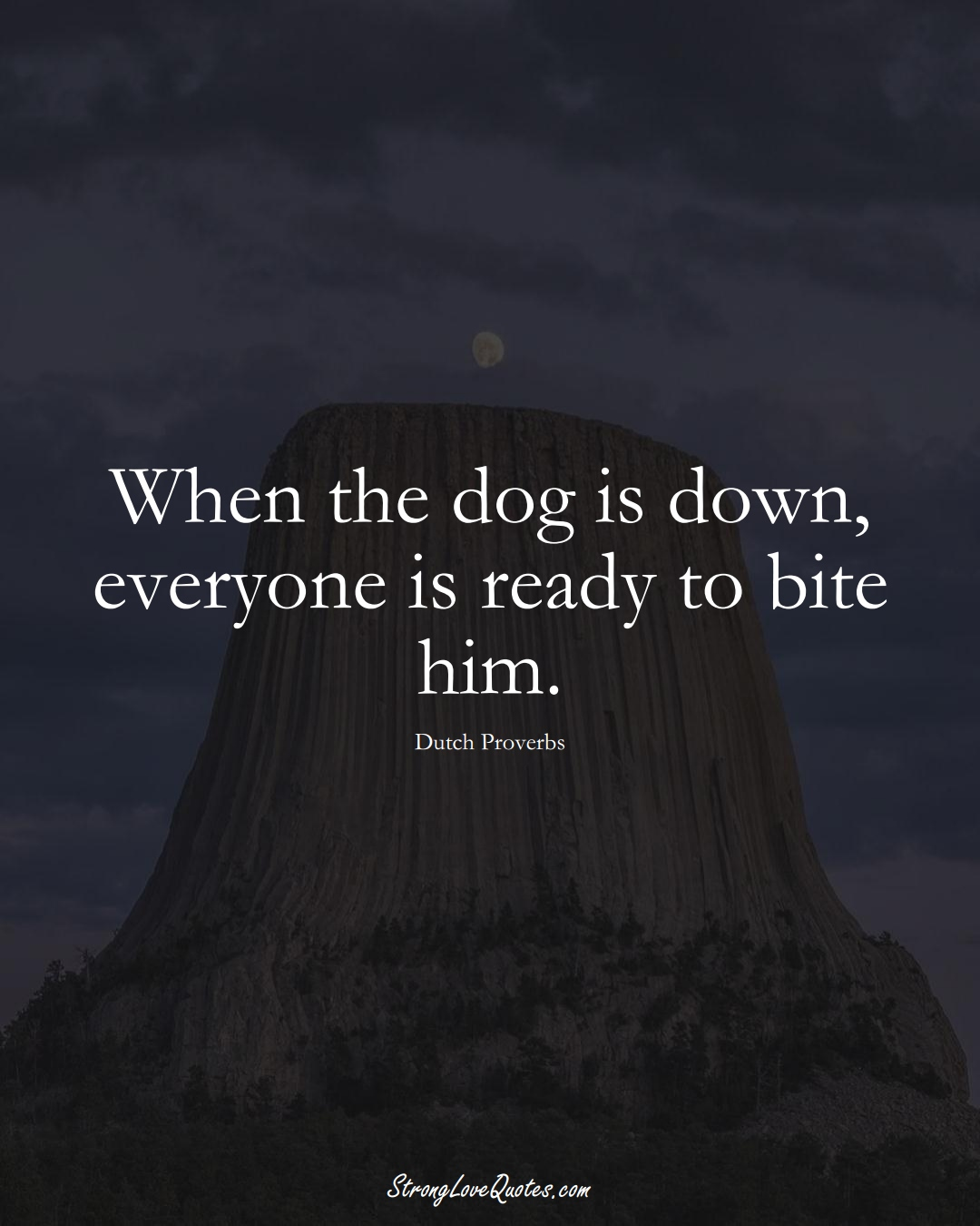 When the dog is down, everyone is ready to bite him. (Dutch Sayings);  #EuropeanSayings