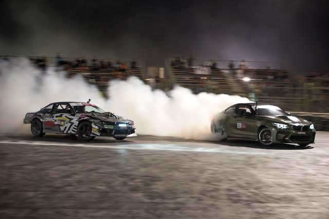 Kuwait born drifter Mesyar Abushaibah chasing Qatar Mohammad Al Khaiat at Qatar Drift Round 2