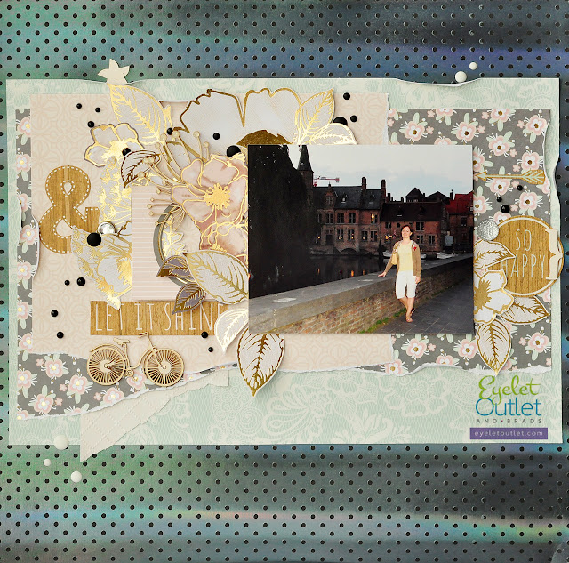 let it shine | Eyelet Outlet DT @akonitt #layout #by_marina_gridasova #eyeletoutlet #dcwv #enameldots #scrapbooking