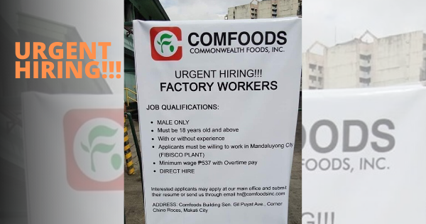 Factory Workers P537 Minimum Wage | Comfoods Urgent Hiring