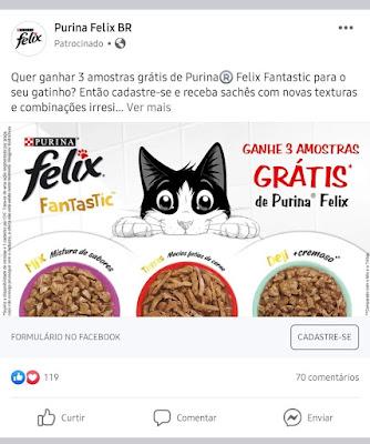 Anúncio Patrocinado: Peça uma Amostra Grátis de Sachê Para Gatos Purina Felix Fantastic