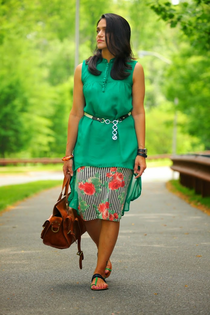 Top - Custom Made from India, Skirt - Asos, Footwear - Tommy Hilfiger, Bag - Mulberry, Belt - Michael Kors