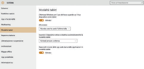 Continuum: novità in Windows 10 modalita tablet