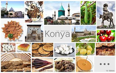 Konya'nın meşhur şeylerini gösteren resimlerden oluşan kolaj