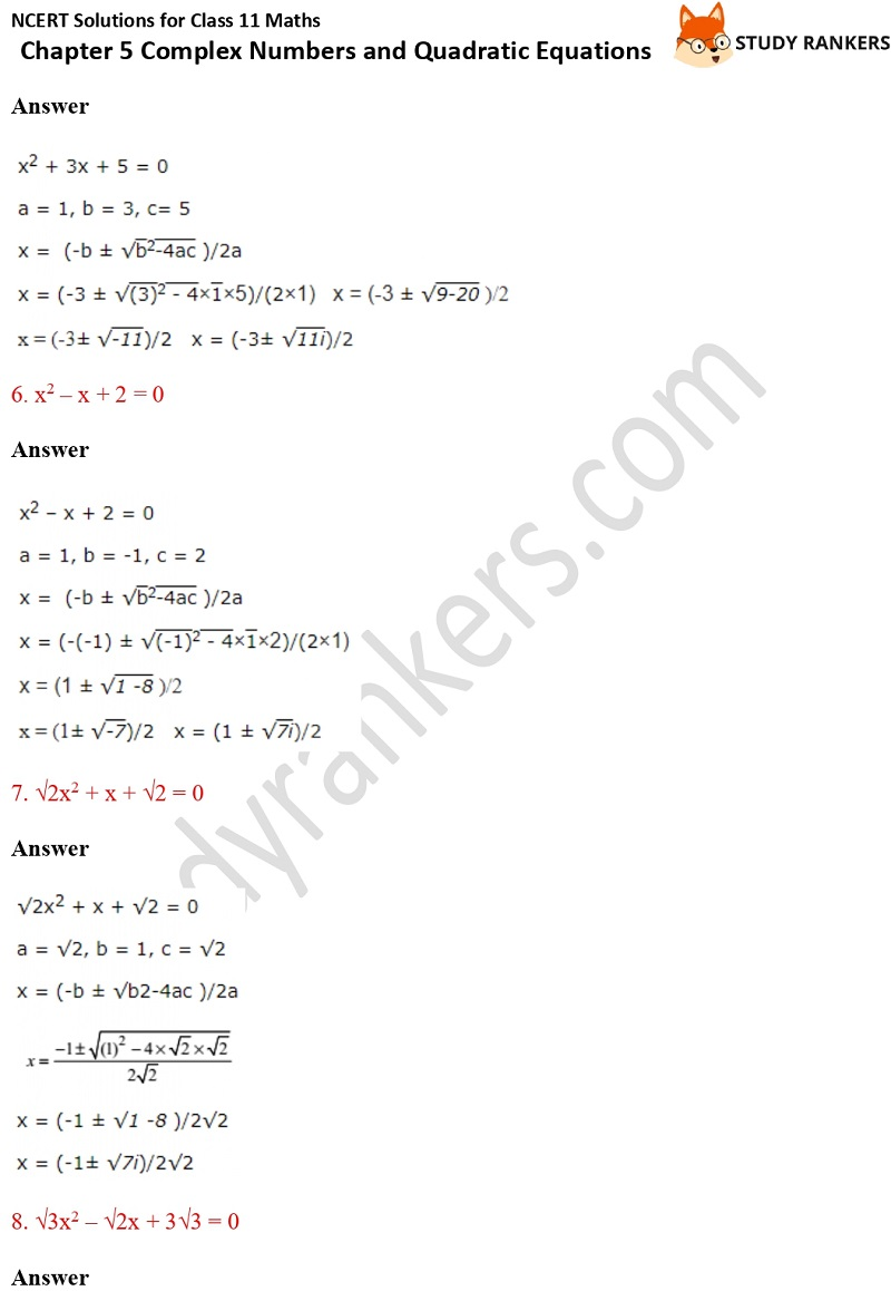 NCERT Solutions for Class 11 Maths Chapter 5 Complex Numbers and Quadratic Equations 8