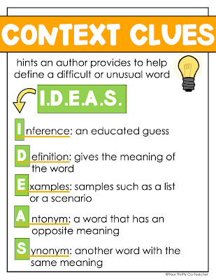 Looking for engaging activities to use when teaching context clues to your 4th or 5th graders? Here are some anchor charts you can use with your students.