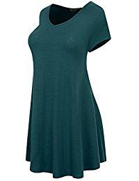 Buy Women's V Neck Short Sleeve Tunic Top