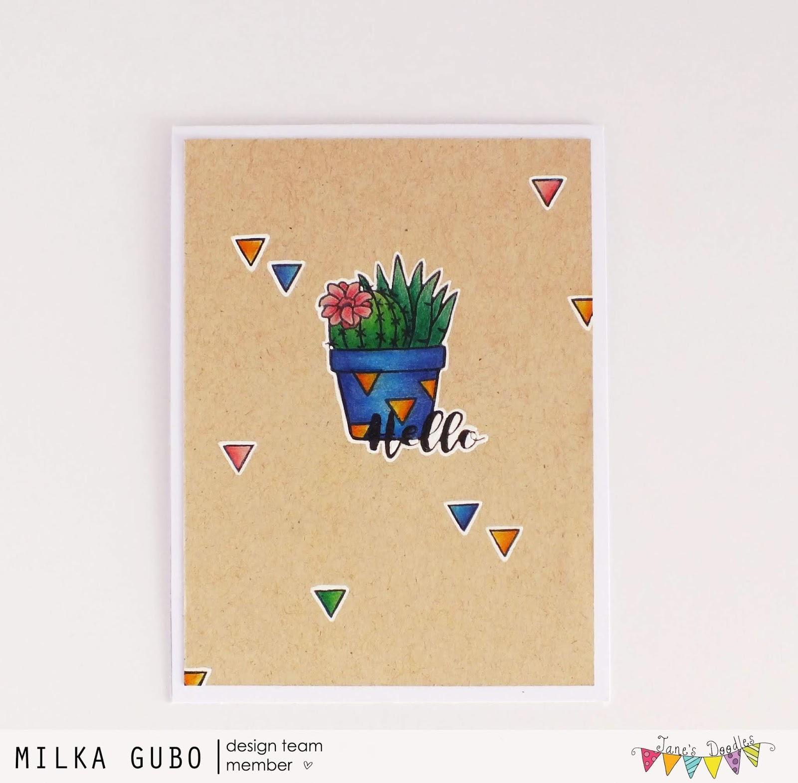 Crafty Milka Colorful Cacti Pot Card Ii Jane S Doodles Dt Spotlight