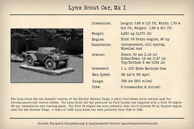 Technical Data Card Lynx Scout Car, Mark I