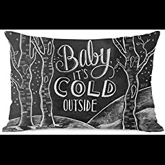 Baby, It's Cold Outside Pillow by Lily & Val, Gray/White #babyitscoldoutside #christmasmusic #learnyourchristmascarols #christmasdecor available on Amazon